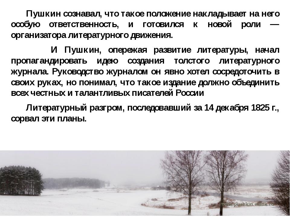 Пушкин сознавал, что такое положение накладывает на него особую ответственно...