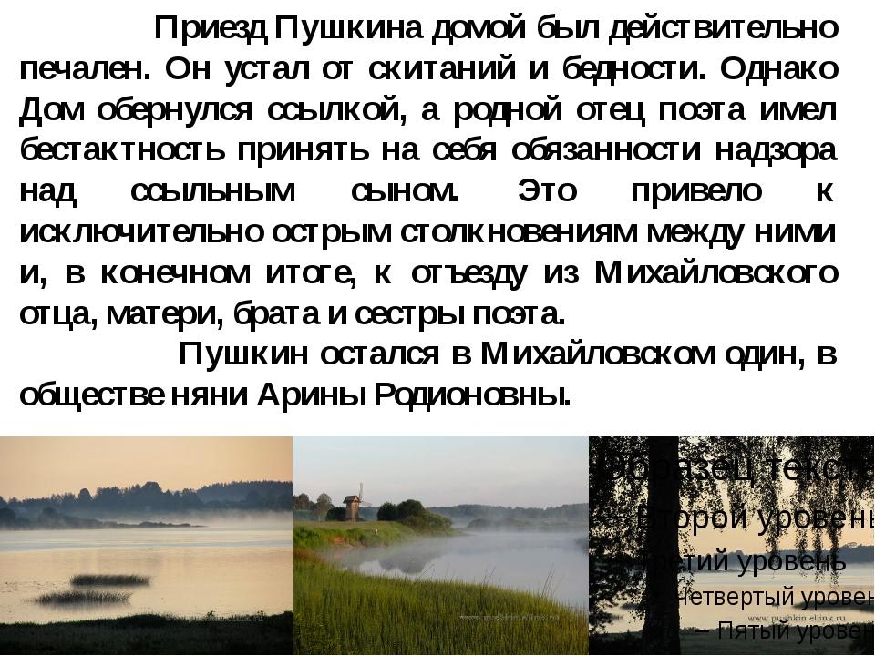 Приезд Пушкина домой был действительно печален. Он устал от скитаний и бедно...
