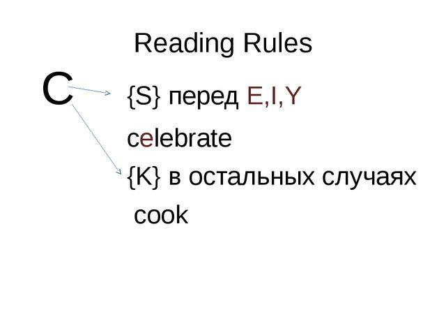 Reading Rules C {S} перед E,I,Y celebrate {K} в остальных случаях cook