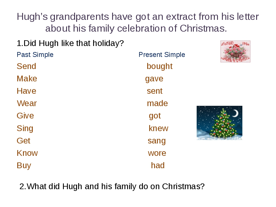 Hugh's grandparents have got an extract from his letter about his family cele...