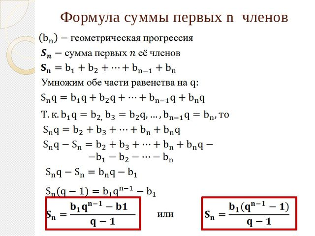 Формула суммы первых n членов
