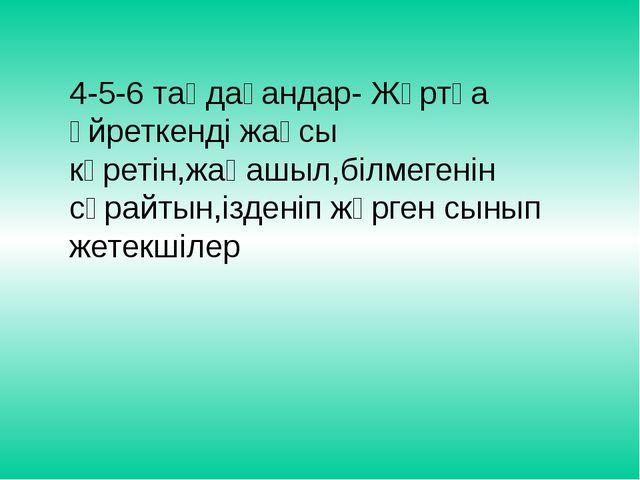 4-5-6 таңдағандар- Жұртқа үйреткенді жақсы көретін,жаңашыл,білмегенін сұрайты...