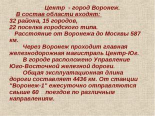 Центр - город Воронеж. В состав области входят: 32 района, 15 городов, 22 по