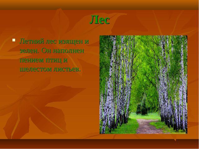Лес Летний лес изящен и зелен. Он наполнен пением птиц и шелестом листьев.