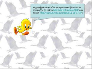 видеофрагмент «Песня цыпленка (Кто такие птички?)» (с сайта http://viki.rdf.r