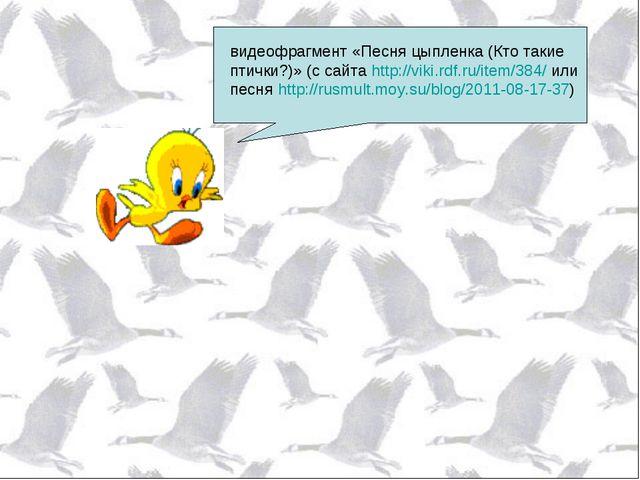 видеофрагмент «Песня цыпленка (Кто такие птички?)» (с сайта http://viki.rdf.r...