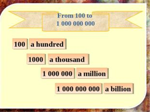 100 1000 1 000 000 a hundred a thousand From 100 to 1 000 000 000 a million 1