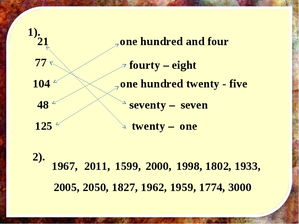 twenty – one 21 77 seventy – seven 104 one hundred and four 48 fourty – eight...