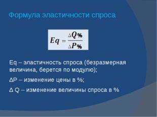 Формула эластичности спроса Eq – эластичность спроса (безразмерная величина,