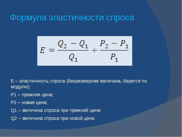 Формула эластичности спроса E – эластичность спроса (безразмерная величина,...