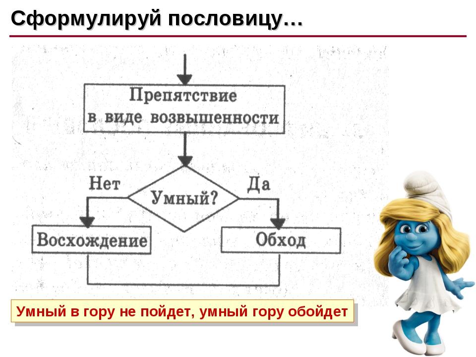 Сформулируй пословицу #2 Сформулируй пословицу… Умный в гору не пойдет, умный...