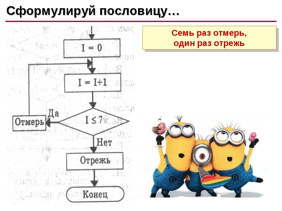 Сформулируй пословицу #4 Сформулируй пословицу… Семь раз отмерь, один раз отр...