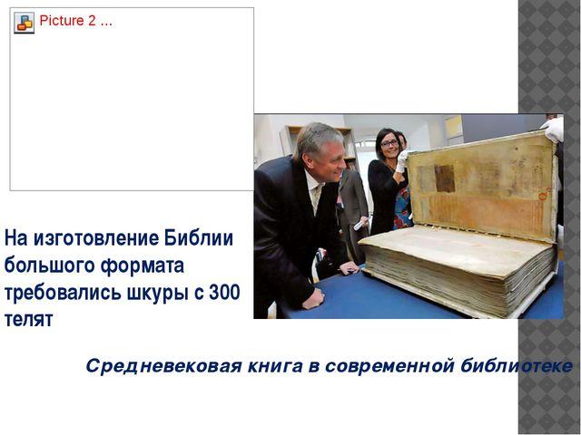Средневековая книга в современной библиотеке На изготовление Библии большого...