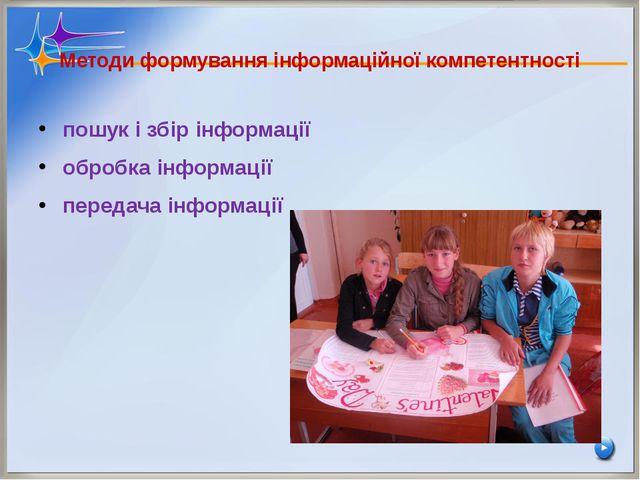 Методи формування інформаційної компетентності пошук і збір інформації обробк...