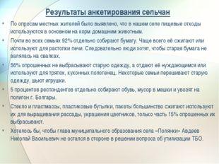 Результаты анкетирования сельчан По опросам местных жителей было выявлено, чт