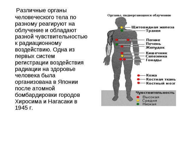 Различные органы человеческого тела по разному реагируют на облучение и обла...