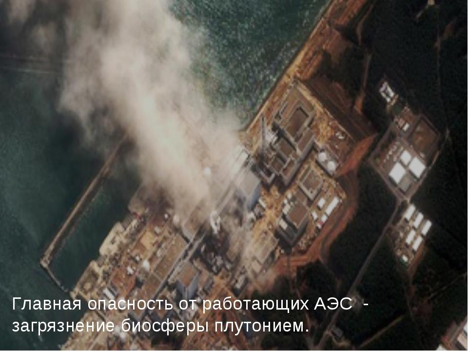 Главная опасность от работающих АЭС - загрязнение биосферы плутонием.