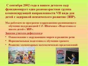 С сентября 2002 года в нашем детском саду функционирует одна разновозрастная