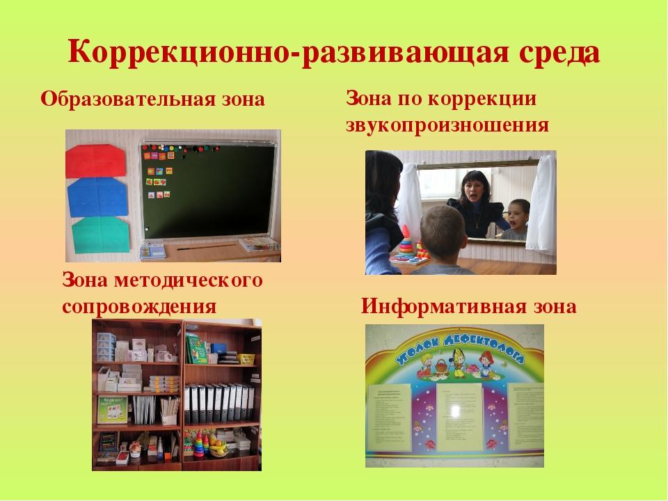 Коррекционно-развивающая среда Образовательная зона Зона по коррекции звукопр...