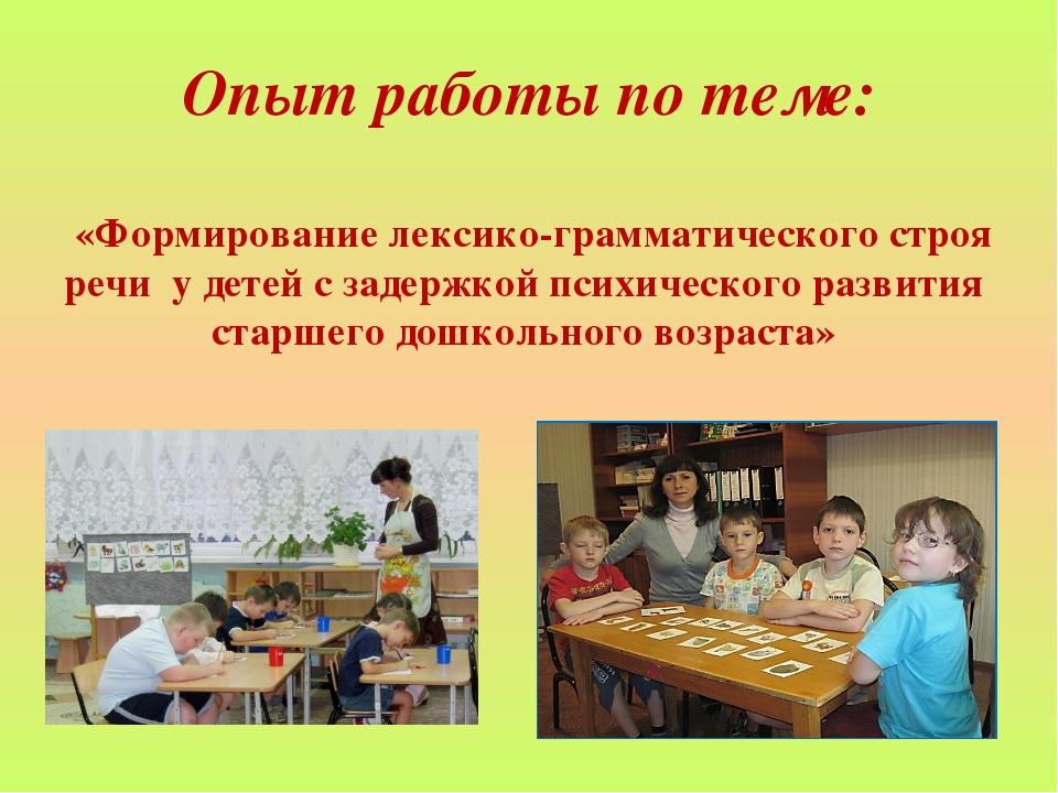 Опыт работы по теме: «Формирование лексико-грамматического строя речи у детей...