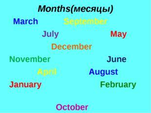 Months(месяцы) March September July May December November June April August J