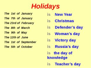 Holidays The 1st of January The 7th of January The 23rd of February The 8th o