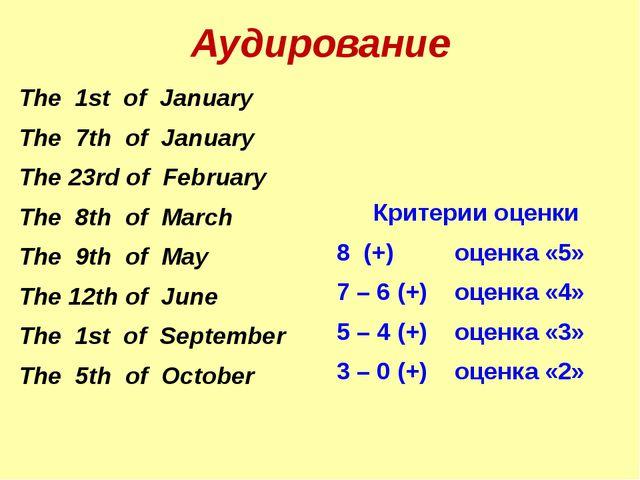 Аудирование Критерии оценки 8 (+) оценка «5» 7 – 6 (+) оценка «4» 5 – 4 (+) о...
