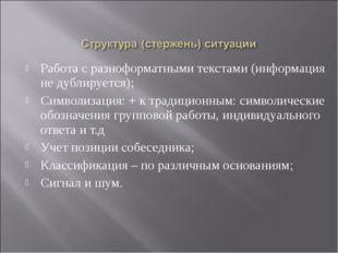 Работа с разноформатными текстами (информация не дублируется); Символизация: