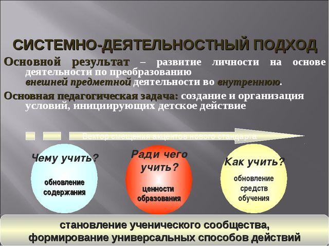 Основной результат – развитие личности на основе деятельности по преобразова...