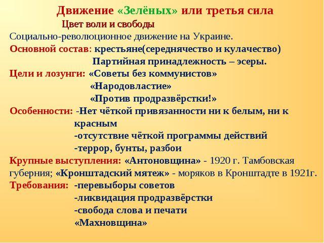 Движение «Зелёных» или третья сила Цвет воли и свободы Социально-революционно...