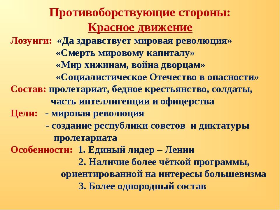 Противоборствующие стороны: Красное движение Лозунги: «Да здравствует мировая...