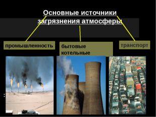 Основные источники загрязнения атмосферы транспорт бытовые котельные промышл