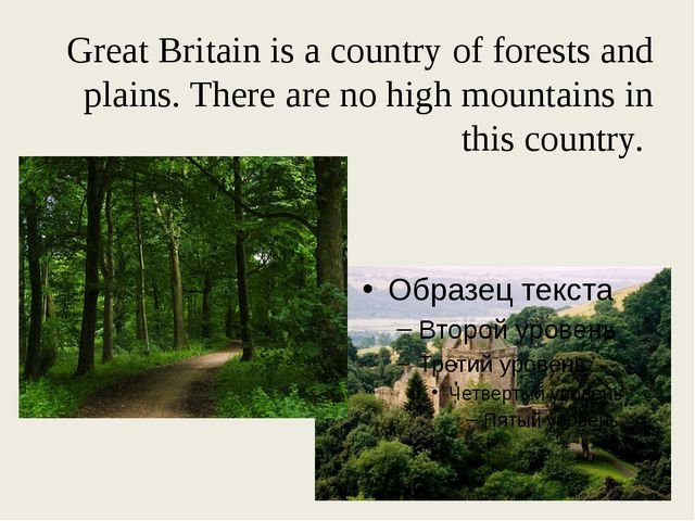 Great Britain is a country of forests and plains. There are no high mountains...