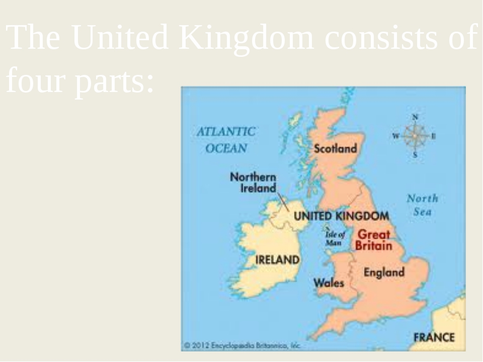The United Kingdom consists of four parts: