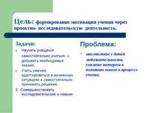 Цель: формирование мотивации учения через проектно- исследовательскую деятель