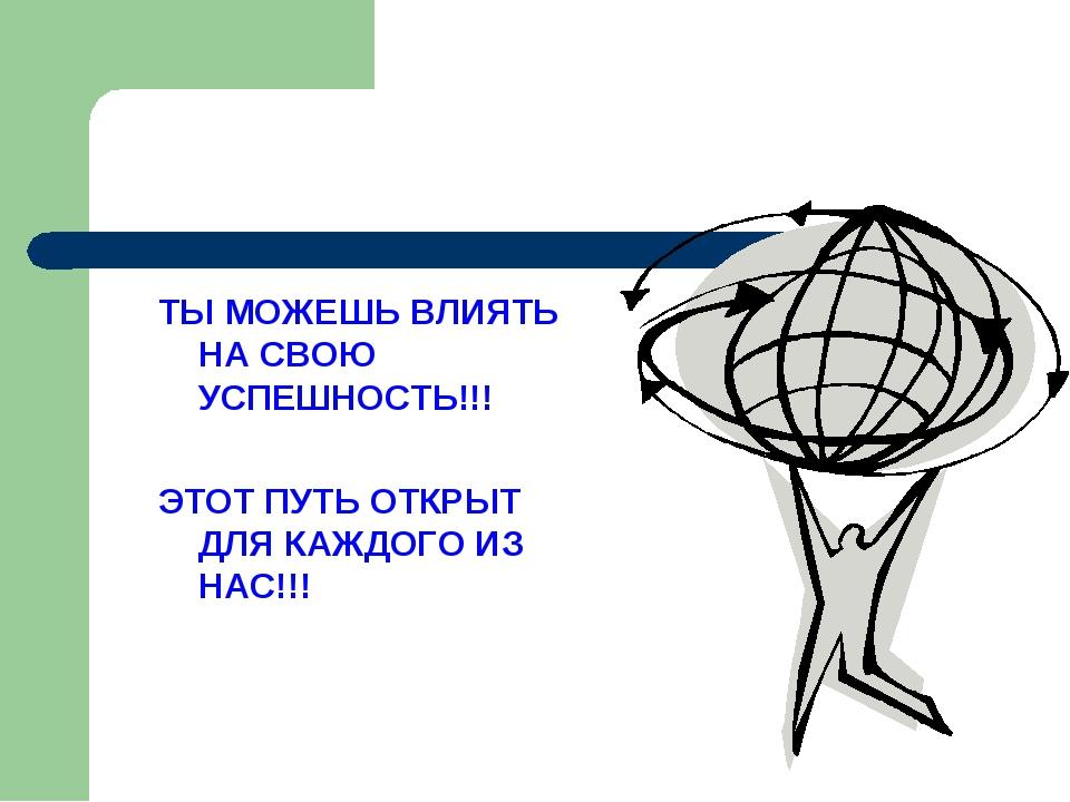 ТЫ МОЖЕШЬ ВЛИЯТЬ НА СВОЮ УСПЕШНОСТЬ!!! ЭТОТ ПУТЬ ОТКРЫТ ДЛЯ КАЖДОГО ИЗ НАС!!!