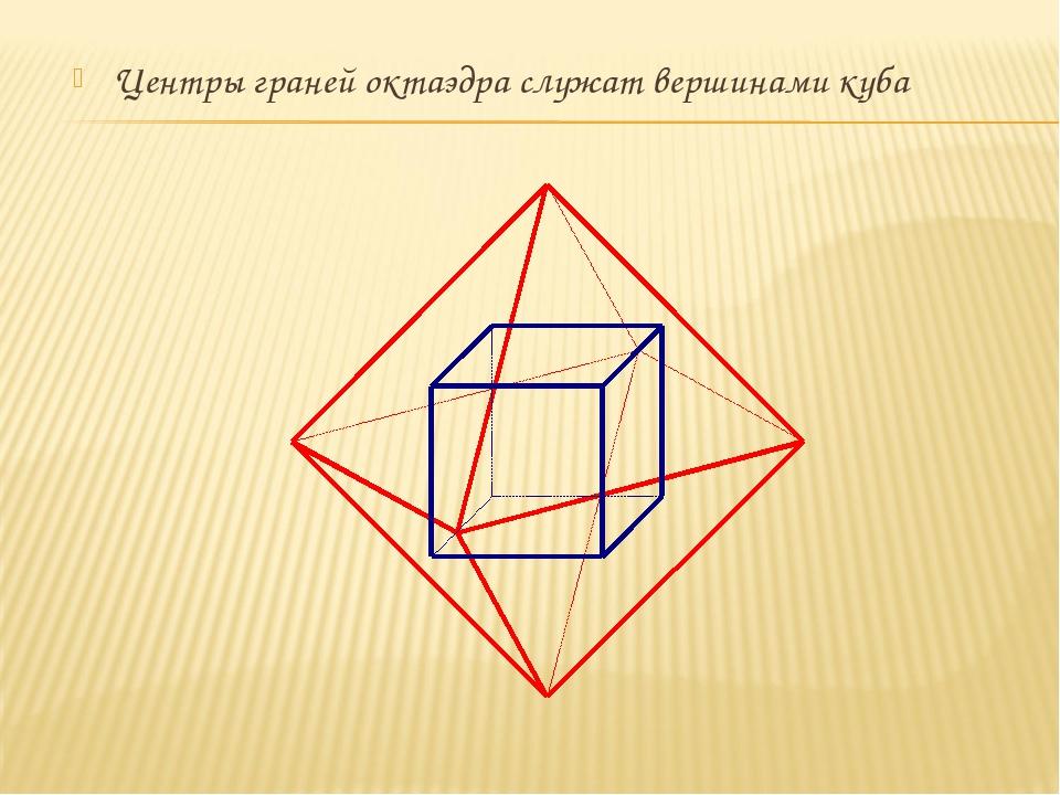 Центры граней октаэдра служат вершинами куба