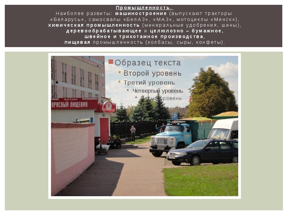 Промышленность. Наиболее развиты: машиностроение (выпускают тракторы «Беларус...
