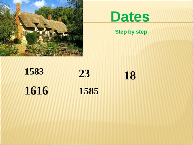 1583 1585 18 1616 23 Dates Step by step