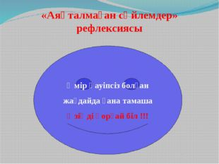 «Аяқталмаған сөйлемдер» рефлексиясы Өмір қауіпсіз болған жағдайда ғана тамаша