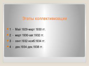 Этапы коллективизации 1 - Май 1929-март 1930 гг. 2 - март 1930-авг.1932 гг. 3