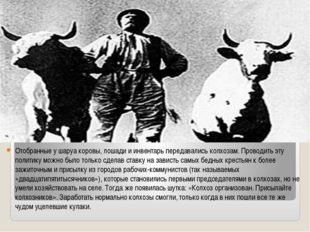 Отобранные у шаруа коровы, лошади и инвентарь передавались колхозам. Проводи
