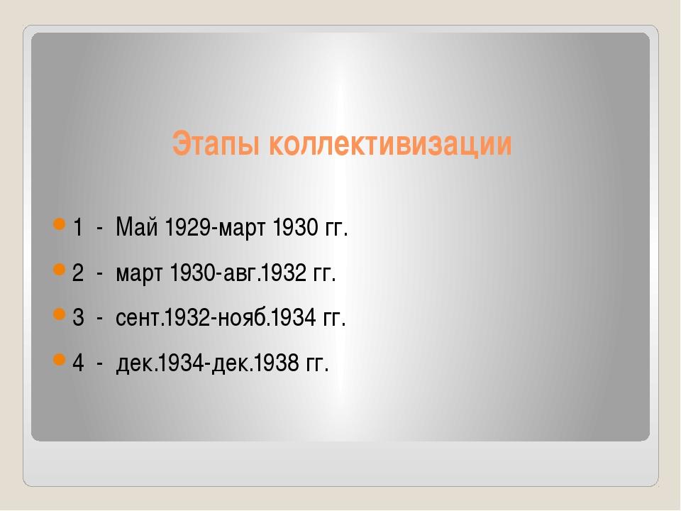 Этапы коллективизации 1 - Май 1929-март 1930 гг. 2 - март 1930-авг.1932 гг. 3...