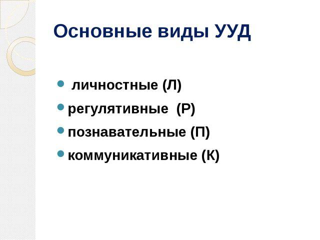 Основные виды УУД личностные (Л) регулятивные(Р) познавательные (П) коммун...