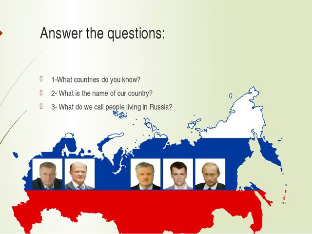 Answer the questions: 1-What countries do you know? 2- What is the name of ou...