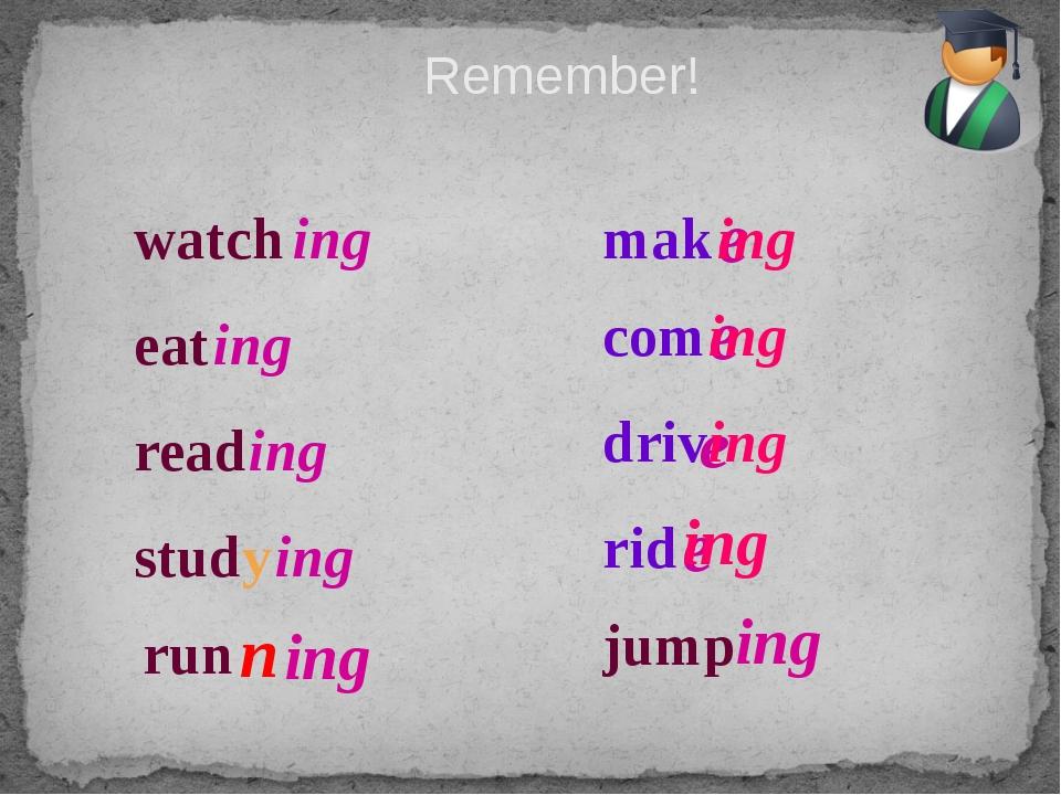 Remember! watch ing eat ing read ing study ing mak e ing com e ing driv e ing...