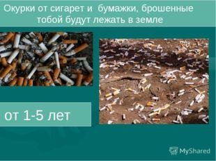 Окурки от сигарет и бумажки, брошенные тобой будут лежать в земле от 1-5 лет
