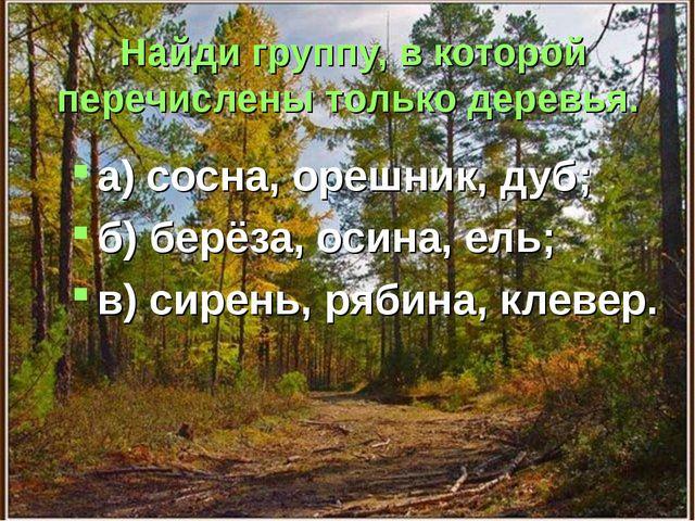 Найди группу, в которой перечислены только деревья. а) сосна, орешник, дуб; б...