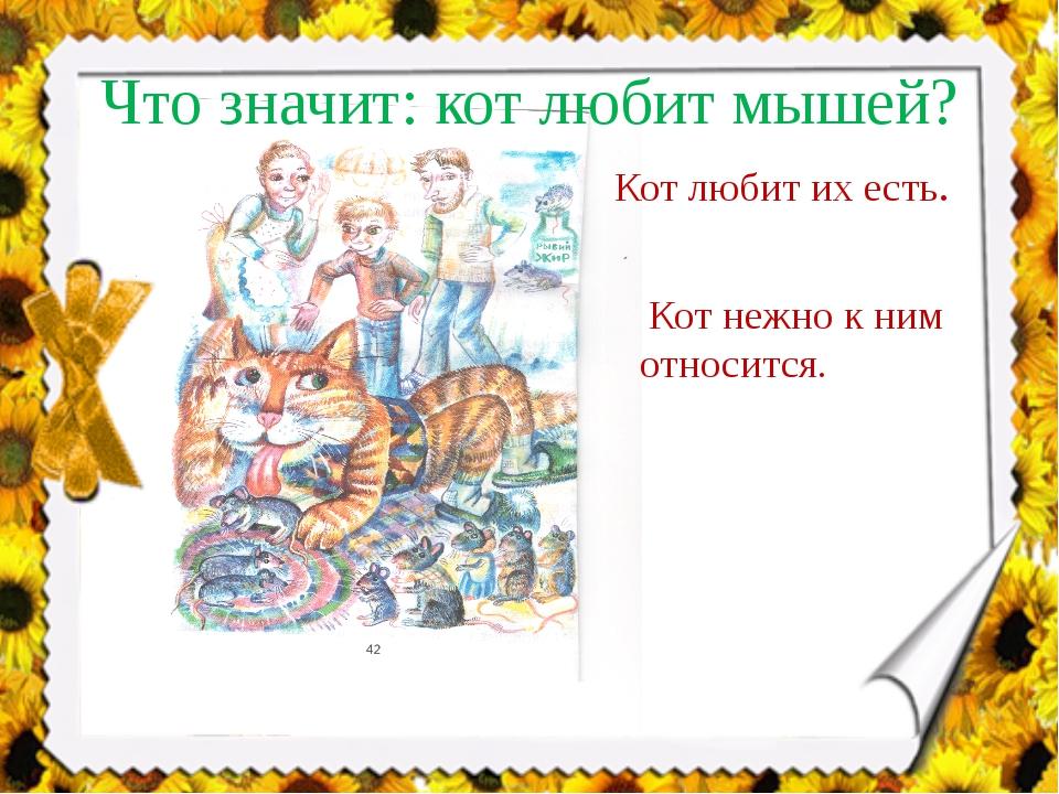 Что значит: кот любит мышей? Кот любит их есть. Кот нежно к ним относится.