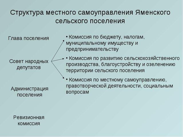 Структура местного самоуправления Яменского сельского поселения Глава поселен...